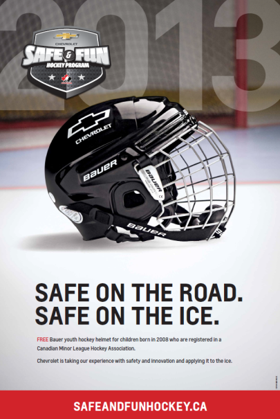 Chevrolet and Bauer Free Hockey Helmet Program