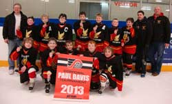 <center>2012-13 Atom A Dodge Caravan Rampage</center><b>Back Row:</b> Dak Conklin(Trainer), Colton Bernard, Griffin Walsh, Brayden Monaghan, Adam Conklin, Isaac Wolters, Jayden Wall, Keegan McCardle, Trent Monaghan(Coach) and Jason Thomson(Trainer)<br><b>Front Row:</b> Keenan Myers, Alex Woodford, Daylin Bernard, Bradley Chisholm and Connor Hogan. Missing from photo is Ian Bernard(coach)